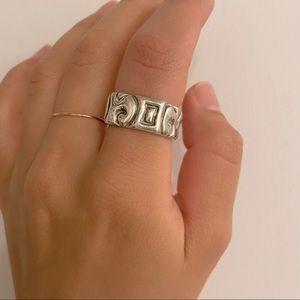 Square Sterling Silver Ring - Abstract Motifs